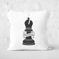 Image of Bishop Chess Piece Faithful Square Cushion - 50x50cm - Soft Touch