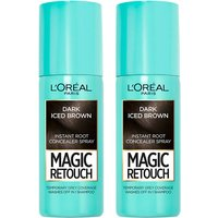 L'Oreal Paris Magic Retouch Dark Iced Brown Root Concealer Spray Duo Pack