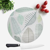 Mixed Leaves Round Chopping Board