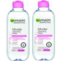 Garnier Micellar Water Facial Cleanser Sensitive Skin 400ml Duo Pack