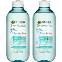 Garnier Pure Active Micellar Water Facial Cleanser Oily Skin 400ml Duo Pack