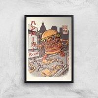 Ilustrata Burgerzilla Giclee Art Print - A4 - Black Frame
