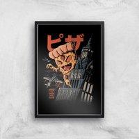 Ilustrata Pizza Kong Giclee Art Print - A3 - Black Frame