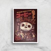 Ilustrata Black Coffee Kaiju Giclee Art Print - A3 - White Frame