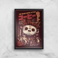 Ilustrata Black Coffee Kaiju Giclee Art Print - A2 - Black Frame
