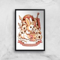 Ilustrata Bunny Graal Giclee Art Print - A4 - Black Frame