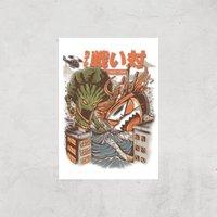 Ilustrata Brocco Vs Ramen Kaijus Giclee Art Print - A2 - Print Only