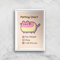 Pusheen Petting Chart Print Giclee Art Print - A3 - White Frame
