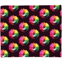 Fluro Flower Pattern Dark Fleece Blanket