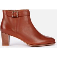 Clarks Women's Kaylin60 Leather Heeled Ankle Boots - Dark Tan - UK 4