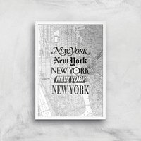 The Motivated Type New York Street Map Giclee Art Print - A2 - White Frame