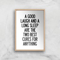 The Motivated Type A Good Laugh And A Long Sleep Giclee Art Print - A4 - Wooden Frame