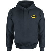 DC Batman Logo Embroidered Kids' Piped Hoodie - Navy - 9-10 Years