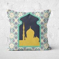 Eid Mubarak Floral Geometric Print With Window Square Cushion - 50x50cm - Soft Touch