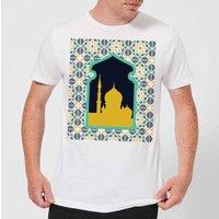 Eid Mubarak Earth Tone Print And Window Frame Men's T-Shirt - White - 5XL - White