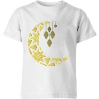 Eid Mubarak Pattern Moon Kids' T-Shirt - White - 11-12 Years - White