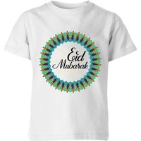 Eid Mubarak Peacock Coloured Wreath Kids' T-Shirt - White - 3-4 Years - White