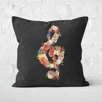 Flower Music Heart Square Cushion - 60x60cm - Soft Touch