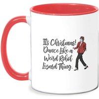 Its Christmas, Dance Like A Weird Robot Mug - White/Red