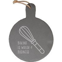 Baking Is Whisk-y Business Engraved Slate Cheese Board