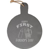 Happy First Fathers Day Engraved Slate Cheese Board