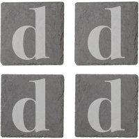Lowercase Letter Engraved Slate Coaster Set - D