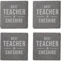 Best Teacher In Cheshire Engraved Slate Coaster Set