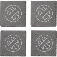 Croissants Engraved Slate Coaster Set