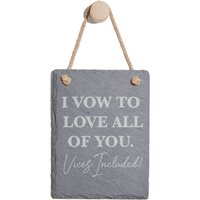 I Vow To Love All Of You Vices Included Engraved Slate Memo Board - Portrait