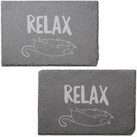 Image of Relax Engraved Slate Placemat - Set of 2