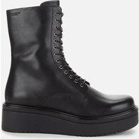 Vagabond Womens Tara Leather Chunky Lace Up Boots - Black - UK 8