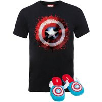 Marvel Captain America T-Shirt and Slippers Bundle - S/M Slippers - Mens - 4XL