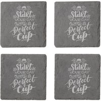 Start Your Day With A Perfect Cup Engraved Slate Coaster Set