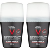 Image of VICHY Homme Men's Extreme-Control Anti-Perspirant Roll-on Deodorant Duo for Sensitive Skin 50ml