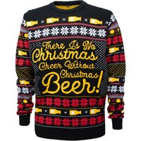 Novelty Christmas Beer Jumper - Black - XS