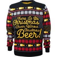 Novelty Christmas Beer Jumper - Black - M