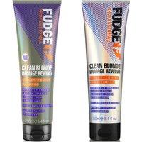 Fudge Professional Clean Blonde Damage Rewind Violet-Toning Shampoo and Conditioner Bundle 250ml (Wo