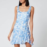 De La Vali Women's Christabel Printed Jacquard Short Dress - Blue Primrose - UK 10