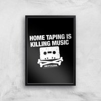 Home Taping Is Killing Music Giclee Art Print - A4 - Black Frame