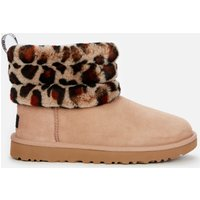 UGG Women's Fluff Mini Quilted Leopard Sheepskin Boots - Amphora - UK 6