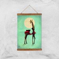 Ikiiki Giraffe Giclee Art Print - A3 - Wooden Hanger