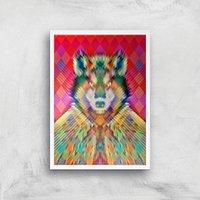 Ikiiki Wolf Giclee Art Print - A4 - White Frame