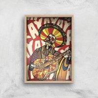 Ikiiki Mariachi Giclee Art Print - A4 - Wooden Frame