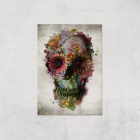 Ikiiki Floral Skull Giclee Art Print - A3 - Print Only