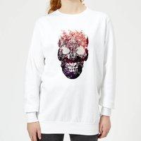 Ikiiki Floral Skull Women's Sweatshirt - White - L - White