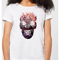 Ikiiki Floral Skull Women's T-Shirt - White - 5XL - White