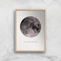 Moon And Back Giclee Art Print - A2 - Wooden Frame