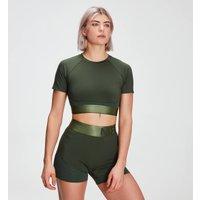 MP Womens Adapt Textured Crop Top- Dark Green - S
