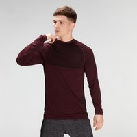 MP Men's Essential Seamless Long Sleeve Top- Washed Oxblood Marl - M