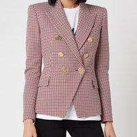 Balmain Women's 6 Button Houndstooth Jacket - Blue/Red/White - FR 36/UK 8